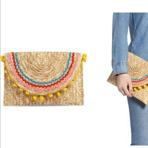 NEW- Shiraleah Pom Pom Straw Clutch Bag Francescas